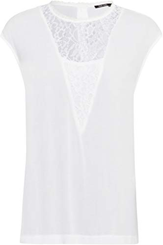 Marc Aurel Damen Bluse mit Spitzeneinsatz Größe 44 EU Weiß (weiß)