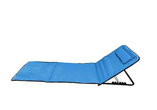 Pincho Esterilla de Playa Plegable portátil con Respaldo Ajustable y reposacabezas 170x48x50cm Bolsillo de Almacenamiento (Azul 170cm)