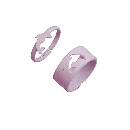 2 unids caramelo color delfín abierto anillo para las mujeres anillos de la junta de moda para las niñas anillos de dedo para parejas amante - blanco