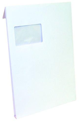 Idena 346045 - Faltentasche C4 mit 2 cm Klotzboden, 100 Stück, 120 Gramm, haftklebend, mit Fenster, weiß