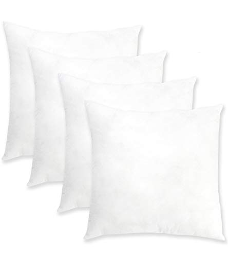 """ORANIFUL 16""""x16"""" Pillow Inserts Set of 4 Square Throw Pillows Euro Decorative Cushion Inner Nonwovens Cover 3D Cotton Best Filling for Pillow of Couch/Bed/Indoor/Office 40cm x 40cm"""