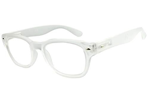 Lesebrille Damen weiß mit langem Bügel leicht eckige Gläser retro Lesehilfe Sehhilfe 1,5 2,0 2,5 3,0 3,5, Dioptrien:Dioptrien 2.0