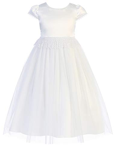 BNY Corner Big Girl Cap Sleeve Satin Lace Formal Holy First Communion Flower Girl Dress White 18 KD 460