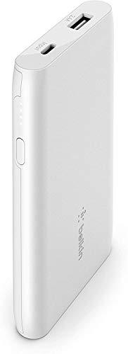 Belkin batería externa 5K Boost Charge (cargador portátil con puerto USB, 5000 mAh de capacidad, power bank para iPhone, AirPods, iPad, Pixel y dispositivos de Samsung entre otros), blanco