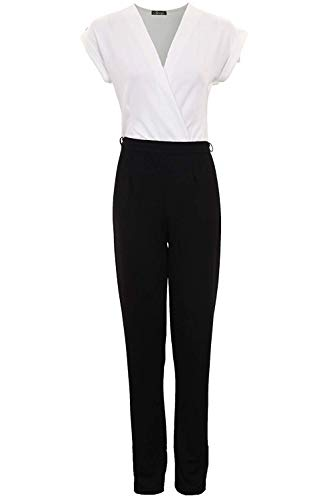Fantasia Boutique Femmes Revers Mancheron Contraste Enveloppant Avant Bas Col V Femmes Combinaison Crêpe - Blanc, 40