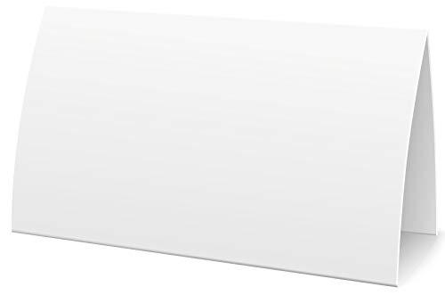 Extra große bedruckbare Namensschilder Tischkarten weiß blanko, 100 Stück Platzkarten neutral 11,5 x 5,5cm, Tischkärtchen Klappkarten Namenskärtchen Platzkärtchen (100)