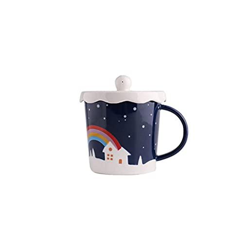 Coffee Cup Taza de Agua de la Oficina de la Taza de cerámica de la Tendencia Creativa de la Personalidad de la Taza de café con el Material de la Cuchara de la Cubierta: Cerámica