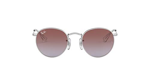 Ray-Ban Junior Kids' RJ9547S Metal Round Sunglasses, Silver/Light Blue Gradient Violet, 44 mm