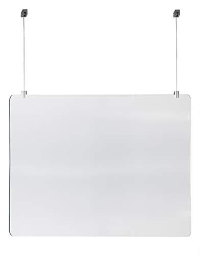 STAS Hängender Plexiglas-Hustenschutz 75cm x 100cm inkl. Aufhängeset für normale Decken gegen Niesen und Husten für Ladentheke, Rezeption oder Schalter