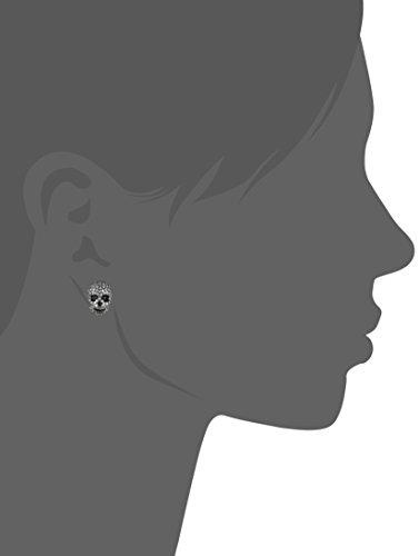 Betsey Johnson CZ Pave Heart & Skull Duo Set of Stud Earrings