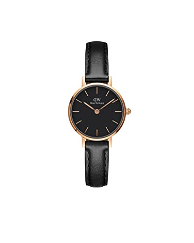 Daniel Wellington Reloj Petite Sheffield, correa de piel italiana negra, 24 mm