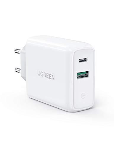 "UGREEN 36W Cargador Pared con USB C Power Delivery 3.0 y USB QC 3.0, Cargador USB C Carga Rapido 18W para iPhone 12 11 XS iPad Pro 2020 MacBook Air 13"" Cargador QC 3.0 para Xiaomi Redmi Note 9(Blanco)"