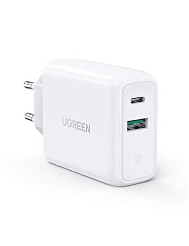 UGREEN 36W Cargador Pared con USB C Power Delivery 3.0 y USB QC 3.0, Cargador USB C Carga Rapido 18W para iPhone 12 11 XS iPad Pro 2020 MacBook Air 13″ Soporte QC 4.0, QC 3.0 para Xiaomi Redmi Note 8