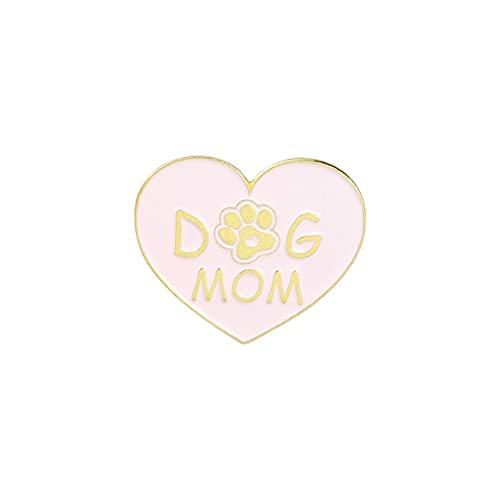 Spilla a forma di fagioli, in metallo rosa, bianco, con cuore e zampe di zampa, con stampa smaltata, per cane, mamma, borsa, cappello, accessori per animali
