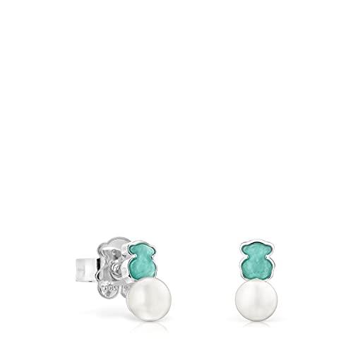 Pendientes Mini Color de Plata con Amazonita y Perla