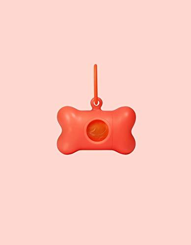 United Pets Bon Ton Neon – Dispensador/Porta Bolsas para Perros, Eco Friendly de plástico Reciclado, Fabricado en Italia, Incluye 10 Bolsas biodegradables, Naranja Fluorescente