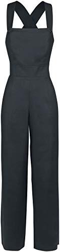 Hell Bunny Penny Dungaree Frauen Jumpsuit schwarz XL 52% Leinen, 45% Viskose, 3% Elasthan Rockabilly