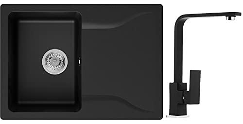 PRIMAGRAN Fregadero Negro sobre encimera 70 x 50 cm