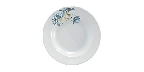 Estojo com 6 pratos fundos. Modelo redondo izabel. Decoração aqua blue. Porcelana real by porcelana schmidt.