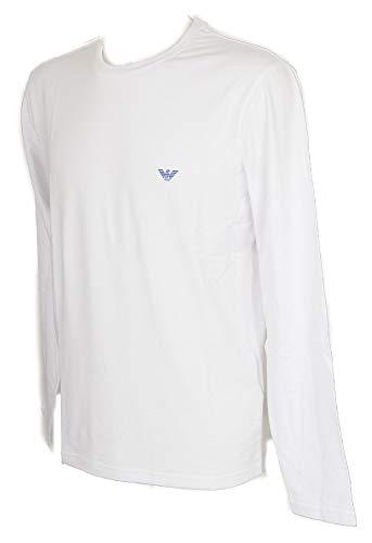 Emporio Armani Herren Sweatshirts Crew Neck T-Shirt L/Sleeve Langarmshirt, 00010 White, XL