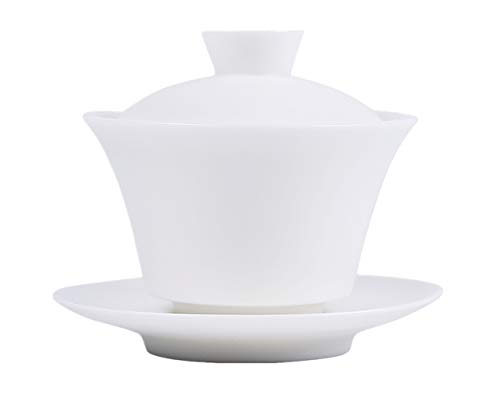 Moyishi Chinese Gaiwan Traditional White Tea Cup Comprised of Cup, Saucer and Lid - Made of Fine Bone China