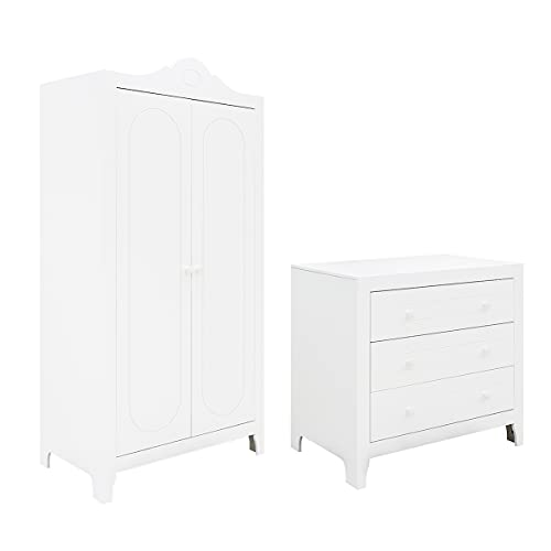 Commode à langer 3 tiroirs et armoire 2 portes Evi - Blanc