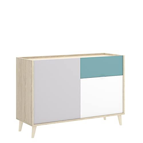 Homely - Aparador de diseño nórdico Nova Color Blanco Esmeralda Natural Gris 105x43x75 cm