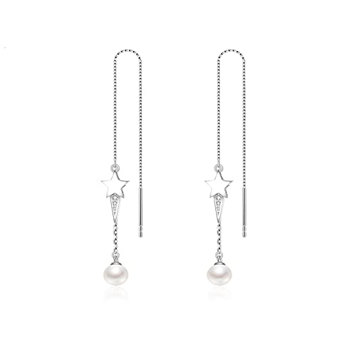 OMTONGXIN Pendientes S925 Pendientes de Perlas de Agua Dulce de Plata 5-6mm Pendientes de Moda en Forma de Bollo al Vapor Blanco Pendientes de Bola para Mujer