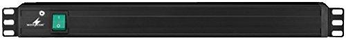 Monacor Tira de alimentación de Aluminio para Montaje en Rack de 2 m, Color Negro (8 Tomas de Tierra - enchufes Europeos)