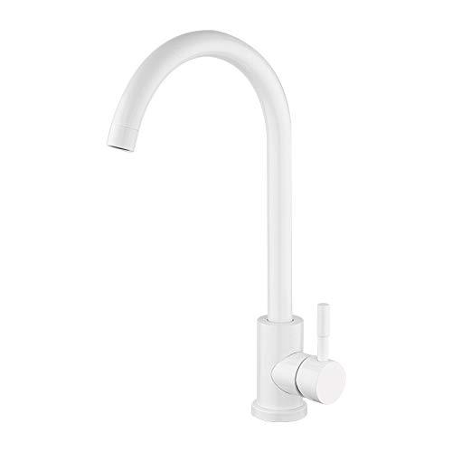 hsvgjsfa küche Armaturen Becken Wasserhahn Badezimmer Wasserhahn 304 Edelstahl Deck Montiert 360 Rotation Mixer Hahn 370 * 230Mm Weiß