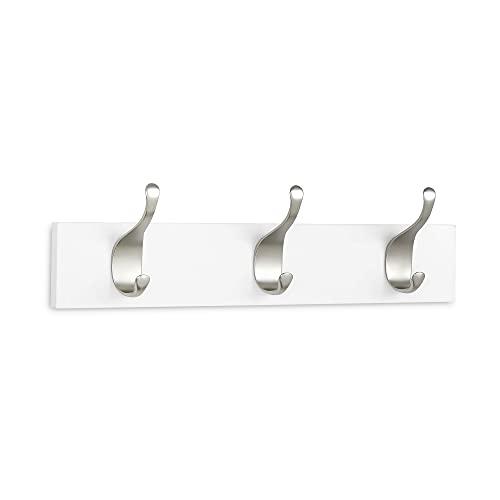 Amazon Basics - Perchero de madera de pared, 3 ganchos modernos 34 cm, Blanco, 2 unidades