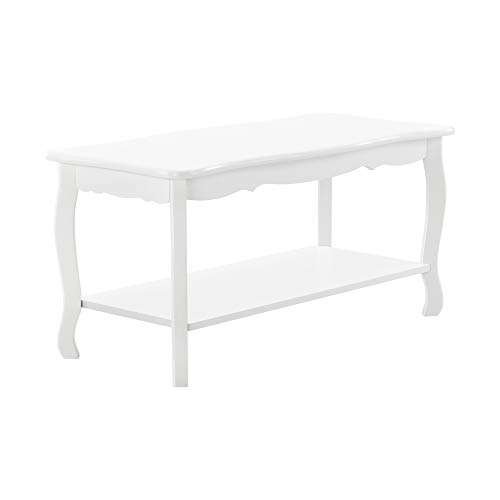 [en.casa] Couchtisch Weiß Lackiert im Shabby Chic Stil 88x40x42cm Beistelltisch Wohnzimmertisch Sofatisch Tisch