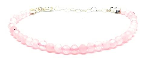 Pulsera de cuarzo rosa, piedras naturales semipreciosas de 4 mm de grosor, cadena de plata ajustable...