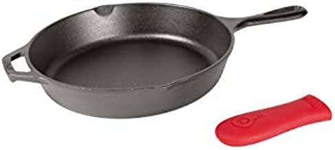 Lodge Cast Iron Skillet, Pre-Seasoned with Silicone Hot Handle Holder , 10.25 Inch Dia, Black/Red Silicone (L8SK3ASHH41B)