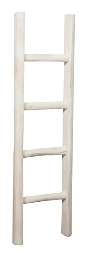 Biscottini Escalera de madera acabado blanco antiguo L30x pr5,5X H100CM Made in Italy