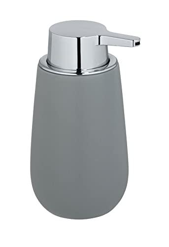 WENKO Dispensador de jabón Badi gris - Dispensador de jabón líquido Capacidad: 0.32 l, Cerámica, 9.5 x 16 x 8 cm, Gris