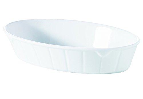 Visiodirect Lot DE 4 Plats OVALES Sabot Porcelaine L195 x lg120 x H40 mm. 43cl