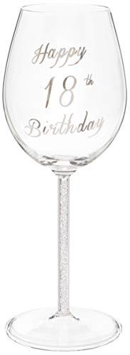 Maturi Happy 18th Birthday 470201 - Copa de vino con tallo de diamante plateado (400 ml)