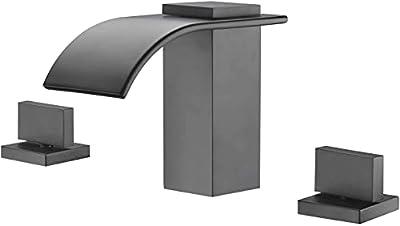 Widespread Waterfall Matte Black Bathroom Faucet 3 Hole 2 Handle 8 Inch Vanity Sink Faucet