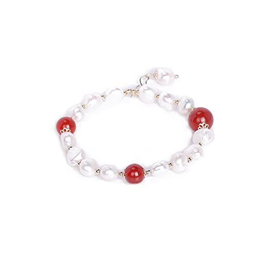 Joyas de pulsera Pulsera de perlas de agua dulce, pulsera de joyería de ágata roja femenina, regalo de San Valentín para novia para mamá Aniversario Día de la madre Regalo de cumpleaños de Navidad