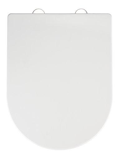 WENKO Premium WC-Sitz Calla - Toiletten-Sitz mit Absenkautomatik, rostfreie Fix-Clip Hygiene Edelstahlbefestigung, Thermoplast, 35.5 x 47 cm, Weiß
