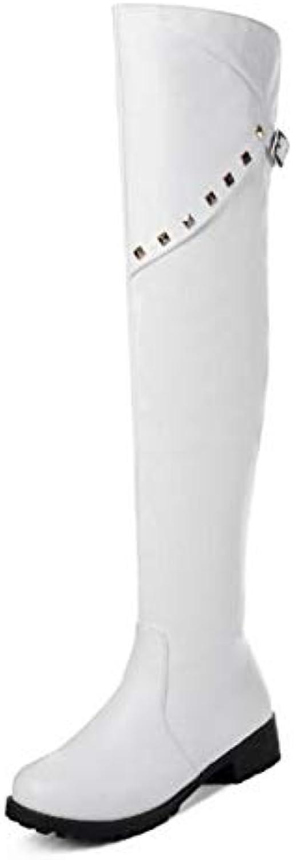 HAOLIEQUAN Frauen Oberschenkel Oberschenkel Oberschenkel Hohe Stiefel Nieten Winter Schuhe Frau Runde Kappe Stiefel Mode Vintage Damen Schuhe Größe 34-43 d0ff54