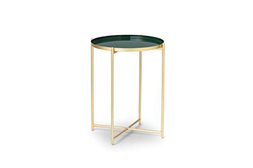 LIFA LIVING Runder Couchtisch aus Metall in Gold und Grün, Vintage Beistelltisch stabil, Kaffeetisch im Modernem Design, 37.5 x 37.5 x 47.5 cm