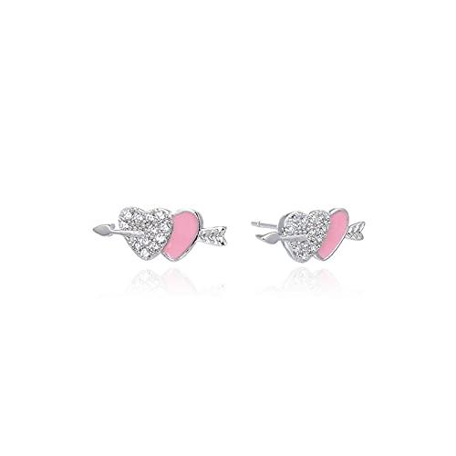 One Arrow Through the Heart Design Earrings Women's Fresh Oil Drop Love Earrings S925 Silver Diamond Accessories