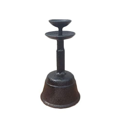 XWF lámparas de Queroseno Lámpara de Aceite Retro de candelabro, Estilo Chino, Hierro Forjado, Hierro Fundido, Zen, Muebles para el hogar, lámpara de Aceite Lámpara de Aceite Antigua (Color : Black)