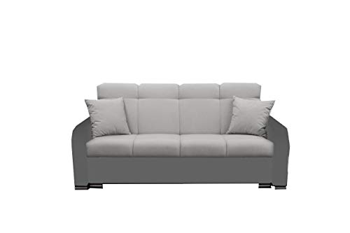 mb-moebel Modernes Sofa Schlafsofa Kippsofa mit Schlaffunktion Klappsofa Bettfunktion mit Bettkasten Couchgarnitur Couch Sofagarnitur 3er Paul (Grau)