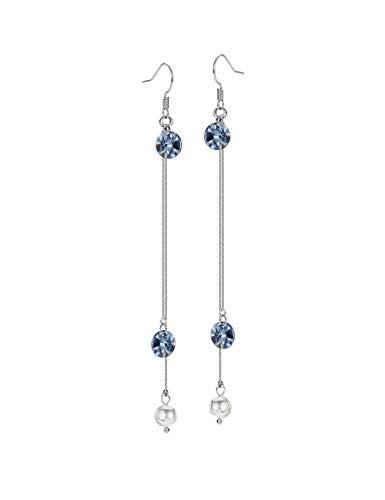 Yishi Pendientes Largo Redondo Cristal Azul Perla Blanco Joya Original Regalo Mujer Chica con Cristal de Swarovski