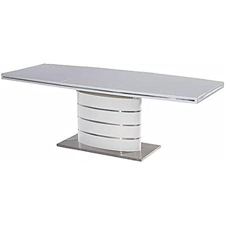 Table de salle à manger extensible Fano - Blanc - MDF - Table à manger moderne extensible - 4 tailles (160 (220) cm)