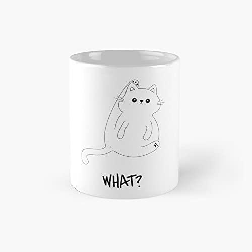 What Cat Lick Butt Classic Mug - Ceramic Coffee White (11...