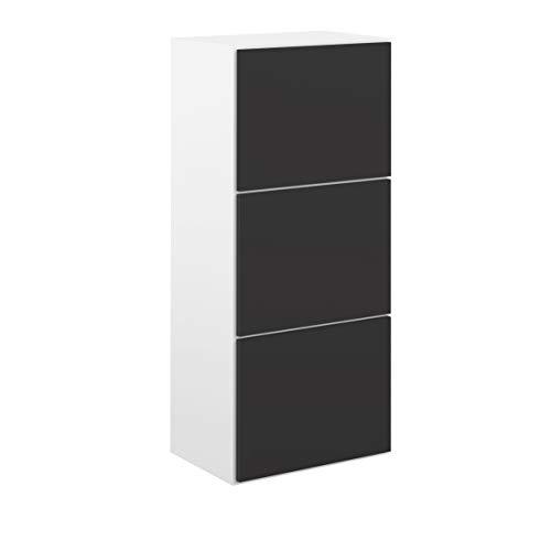 Movian Odiel - Armario zapatero, 50 x 33.1 x 118.7cm (largo x ancho x alto), blanco y negro